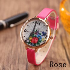 Eiffel Tower Leather Girls Leisure Dress Watch Women's Fashion Quartz Analog Wrist Watches - rose - intl