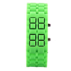 Elenxs Sports Men's Women's Lava Volcanic LED Digtal Watches Silicone Green and Red Light (Intl)