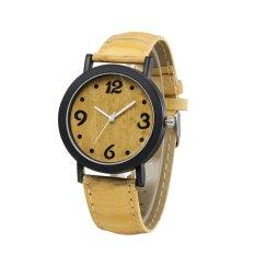 ELENXS Wood Watch Leather Quartz Watch Women Watches Ladies Watch Dark Yellow