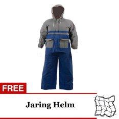 Elephant Jas Hujan Jaket Celana Abu abu - Biru + Gratis Virgo Racing Jaring Barang/Helm Besar - Hitam
