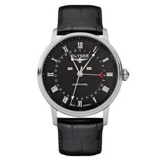 Elysee Male Watches Monumentum Calendar Jam Tangan Pria - Hitam - Leather Strap - 77001L (All Size)
