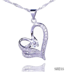 Eozy Purple Rhinestone 925 Sterling Silver Hollow Out Heart Pendant Small Transparent Rhinestone Crystal Jewelry For Gift DIY Necklace Charms (Silver / Volet) (Intl)