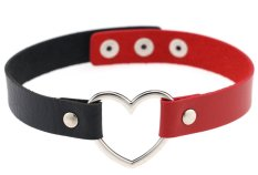 EOZY Vintage PU Leather Love Heart Choker Necklace Gothic Collar Women Chain & Bracelets Charm Jewelry (Black & Red) - Intl