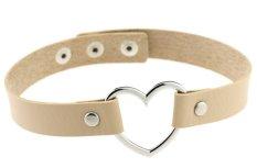 EOZY Vintage PU Leather Love Heart Choker Necklace Gothic Collar Women Chain & Bracelets Charm Jewelry (Light Coffee) - Intl