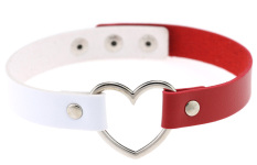 EOZY Vintage PU Leather Love Heart Choker Necklace Gothic Collar Women Chain & Bracelets Charm Jewelry (White & Red) - Intl