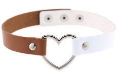 EOZY Vintage PU Leather Love Heart Choker Necklace Gothic Collar Women Chain Charm Jewelry (White & Light Coffee) - Intl