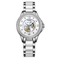 Equipn BUREI Luxury Watch Women Crystal Sapphire Dress Quartz Wristwatch 5ATM Waterproof Hollow Dial Ceramic Stainless Steel Clock (Silver Crystalcerami)
