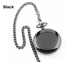 ETOP Retro Steampunk Quartz Pendant Chain Clock Pocket Watch (Black)