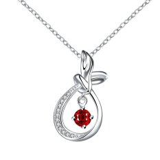 Europe and The New Art Of Hollow Teardrop Shaped Red Zircon Necklace with MS. (Intl)