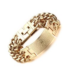 European And American Fashion Brand Steel Curved Cross Scripture Bracelet Male Models
