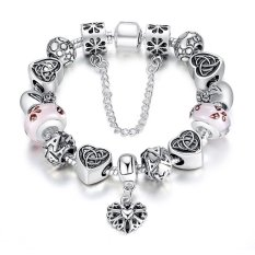 European Style Charm Bracelet For Women with Heart Letter Beads Pink Murao Glass Beads (Intl)