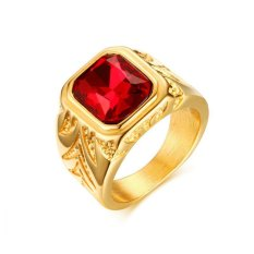 European Style Trendy Jewelry 15.5MM Stainless Steel Red Rhinestones Ring Gold Color Luxury Engaged Rings Men - intl