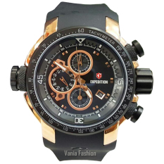 Expedition E633-C Jam Tangan Pria Strap Rubber Hitam Rose Gold