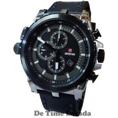 Expedition E6621BS Jam Tangan Pria Strap Leather Hitam Silver