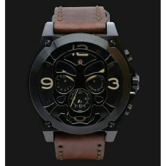 Expedition - Expedition Jam Tangan Pria - Black Brown Leather - 6699