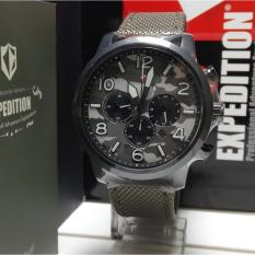 Expedition Jam Tangan Unisex Expedition E6672M Chronograph Black Stainless Steel Strap Canvas Green