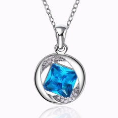Exquisite Cool Crystal Blue Gemstone Pendant Zircon Rhinestone Crystal Party Wedding Chain Jewelry Necklace (Platinum Color)