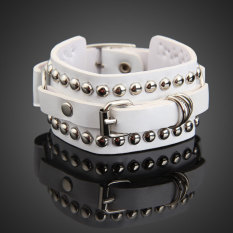 Exquisite Punk Style Multilayer Rivets Wide Bracelet Bangle For Woman White (Intl)
