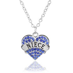 Family Christmas Gift For Women Chain Link Silver Alloy Blue Rhinestone Crystal Love Heart Niece Charm Pendant Necklace (Intl)