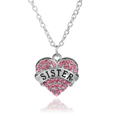 Family Christmas Gift For Women Chain Link Silver Alloy Pink Rhinestone Crystal Love Heart Sister Charm Pendant Necklace (Intl)