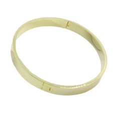 Fancyqube Fashion Men Smooth Oval Clasp Couple Bracelet Alloy Chain Bangle - Gold