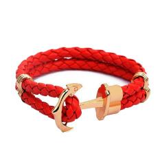 Fancyqube Men Double-Deck Boat Anchor Weave Chain Leather Bracelets Orange Rope Gold Anchor