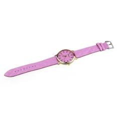 Fang Fang 1PC Women Men Casual Geneva Unisex Watch Faux Leather Quartz Analog Wrist Watch - Pink