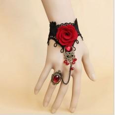Fang Fang Fashion Handmade Fashion Retro Black Lace Vampire Slave Fabric Flower Red Ring - Intl