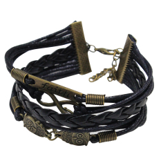 Fang Fang Infinity Faith Owl Friendship Leather New Bracelet Braided Multilayer (Black)