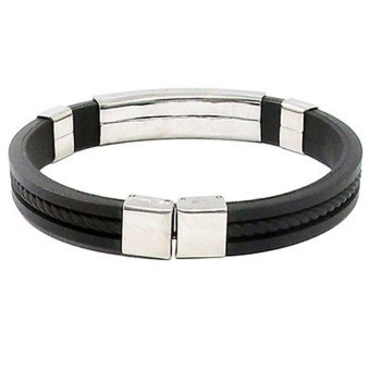 Fang Fang New Fashion Men Womens New Stainless Steel Rubber Wristband Bangle Clasp Cuff Bracelet (Black)