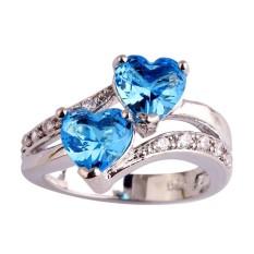 Fang Fashion baru safir kinyang dan putih Topaz bentuk hati romantis cincin kawin perak (langit biru)) ukuran cincin 6 - International