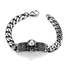 Fashion 316L Stainless Steel Man Bracelet Skull Pattern H003 (Silver)