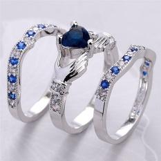 Fashion 3Pcs/Set Heart Cut Silver Plated Crystal Zircon Rings Wedding Rings Silver Type 9# - intl