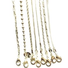 """Fashion 8Pcs / Lot Mix 8 Styles 18""""-22"""" 925 Silver Link Necklace Set Chains + Lobster Clasps 925 Tag (Silver) (Intl)"""