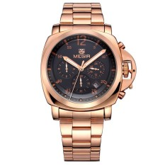Fashion Brand Megir Men Steel Quartz Watch Army Militray Chronograph Watch (Gold) (Intl)