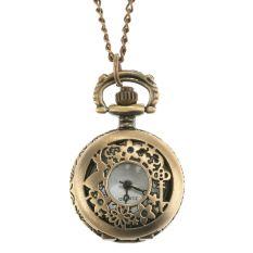 Fashion Bronze Steampunk Quartz Necklace Pendant Chain Clock Pocket Watch Gold (Intl)