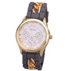 Fashion Chain Trim Soft Band Watch Women Geneva Watch Ladies Quartz Watch Grey (Intl)