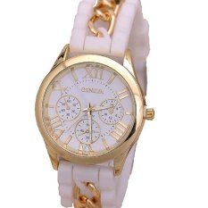Fashion Chain Trim Soft Band Watch Women Geneva Watch Ladies Quartz Watch White (Intl)