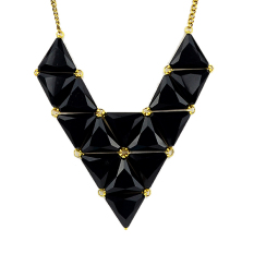Fashion Elegant Blue Black Created Gemstone Triangle Geometric Necklace (Intl)