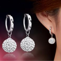 Fashion Flash Super Bling Shamballa putri bola kristal penuh 925 Sterling Silver perhiasan anting Tindik wanita pesta - International