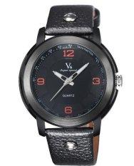 Fashion Hot Sale Classic Men Leather Business Quartz Wristwatch Orange (Intl)