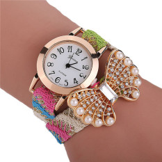 Fashion Korean Style Woven Band Pearl Bowknot Bracelets Watch LC284 Colorful