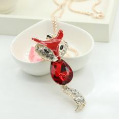 Fashion Lady Red Enamel Crystal Rhinestone Fox Necklace Sweater Long Chain (Intl)