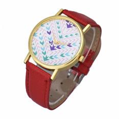 Fashion Lady Women Quartz Aztec Tribal Pattern Leather Wrist Watch (Red)