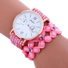 Fashion Large Dial Chimes Diamond Leather Bracelet Lady Womans Wrist Watch Pink - intl