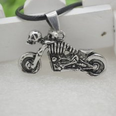 Fashion Leather Skull Motorcycle Pendant Necklace Vintage Men Jewelry
