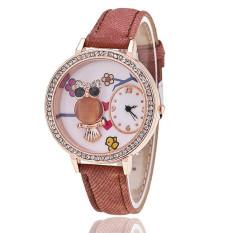 Fashion Leather Band Delicate Rhinestone Owl Flower Women's Quartz Watch LC513 Brown