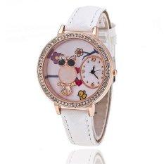 Fashion Leather Band Delicate Rhinestone Owl Flower Women's Quartz Watch LC515 White