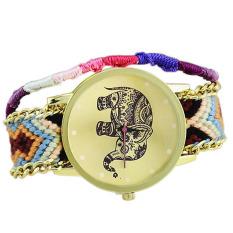 Fashion Lovely Animal Elephant Braid Bracelet Quartz Watch Women Purple