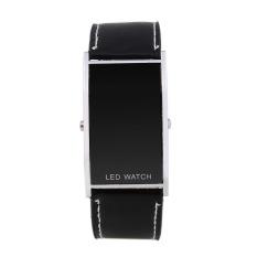 Fashion Luxury Slim Men Women's Electronic Sport Casual Genuine Leather Strap Wristwatches Steel Frame Digital LED Display Watch (Intl)